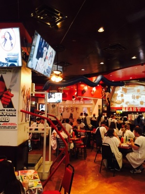 Hospital gowns for everyone at the Heart Attack Grill
